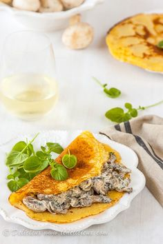 Chickpea flour crepes filled with a creamy mushroom, herb and cream cheese filling #vegetarian #recipe   deliciouseveryday.com