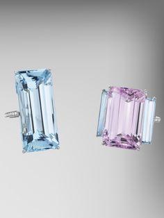 Aquamarine and Kunzite Rings