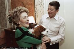 Christmas puppy: President Reagan gifted his wife Nancy with a dog in December 1985. The dog, a King Charles spaniel, was named Rex