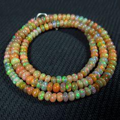 30ct 17 RARE Quality of Rainbow Firing Ethiopian Opal Beads Necklace   eBay