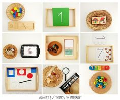 row 1: Wooden geometry fraction puzzle / Montessori Numbers Activity Box by Eve Hermann - there are puzzle cards and sandpaper-like number cards / Selecto Primo Memory Game // row 2: Schleich farm ...