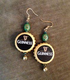 Guinness Beer Bottle Cap Earrings. $10.00, via Etsy.