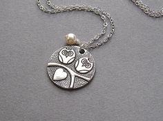 Owl necklace love birds cream swarovski pearl silver by sevenstarz, $12.00