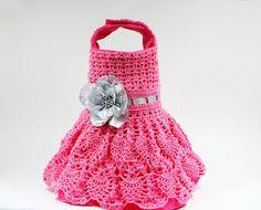 Pink Crochet Dog Dress (size Small)
