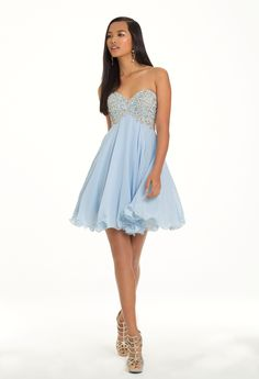 Camille La Vie Short Party Prom Dress with Beautifully Beaded Bodice