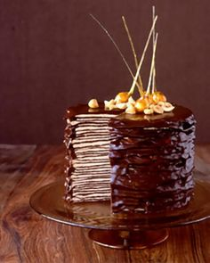 Creps cake with chocolate frosting