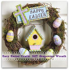 Easy DIY Crafts for Kids - Happy Easter Outdoor Wreath Tutorial