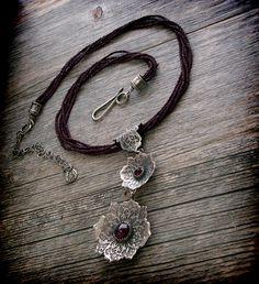 garnet, glass seed beads, sterling silver handmade necklace by Era Art Jewelry. Via Etsy.