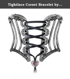 """Tightlace Corset Bracelet by Alchemy Gothic, England. Provocative waist cinching, from elegant Victorian high fashion to goth and fetish chic, applied now to the sensual wrist. A pewter bracelet made in two halves, fashioned as a fancy, Victorian boned corset laced together at the back with a black elastic and tightened and adjusted at the front with black satin ribbon with a purple crystal heart slide fastener. Approximate Dimensions: Width 3"""" x Height 2.3"""" x Depth 2.2"""" Items sold by us..."""