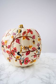 Painting your own Rifle Paper Co. inspired fall pumpkin is super easy with these step-by-step painting instructions and videos. Come see how I made THE pumpkin of the season.