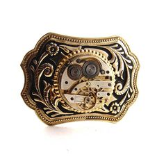 Steampunk mens Belt Buckle Gold Tone Vintage by DesignerKayStyle, $59.99