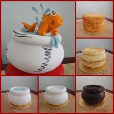 Cat in the Hat Cake 3d Cakes, Fondant Cakes, Cupcake Cakes, Fondant Bow, Fondant Flowers, Fondant Figures, Cake Decorating Techniques, Cake Decorating Tutorials, Pretty Cakes