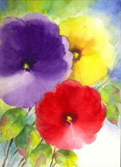 Original Water Color Painting Floral Abstract 9x12 WCF-0231. $25.00, via Etsy.