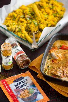 Mausteista kookos-kanaa ja paistettua riisiä