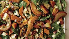 Roasted Winter Vegetable and Pear Salad with Cheddar and Almonds - Recipe - FineCooking Roasted Winter Vegetables, Roasted Vegetable Salad, Vegetable Salad Ingredients, Recipe With Celery Root, Savory Pumpkin Recipes, Turnip Recipes, Roasted Cornish Hen, Hearty Chili Recipe, Pear Salad