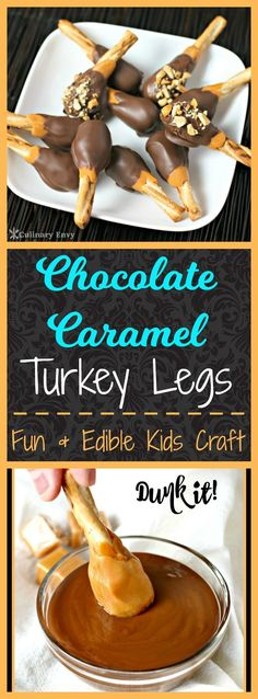 Add a little fun to your Thanksgiving this year by having your kids make these yummy, rich and chewy Chocolate Caramel Turkey Legs dessert. Just 3 ingredients and minutes to make. via Culinary Envy Köstliche Desserts, Delicious Desserts, Dessert Recipes, Yummy Food, Weight Watcher Desserts, Thanksgiving Snacks, Holiday Snacks, Thanksgiving Decorations, Fall Recipes