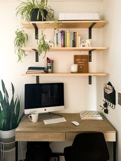 How to Create a Home Office in a Living Room: DIY Shelves & Paint Selections Office Nook, Home Office Space, Home Office Design, Home Office Decor, Office Desks For Home, Office Ideas, Home Office Shelves, Office Inspo, Desk Shelves