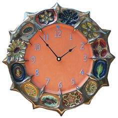 Wheel of Life Ceramic Wall Clock in Terra Cotta and Brass by Beth Sherman: Ceramic Clock available at www.artfulhome.com