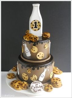 milk and cookies cake! - would be great if you threw a milk and bookies party (kids donate books instead of gifts to the birthday boy/girl)