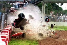 Michael Andretti did not have a smooth flight when his McLaren went airborne after contact with the Ferrari of Gerhard Berger at the start of the 1993 Brazilian GP. Le Mans, Formula 1, F1 Crash, Gerhard Berger, Brazilian Grand Prix, Mclaren Mp4, F1 Racing, Car And Driver, Race Day