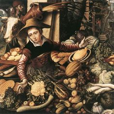 Market Woman with Vegetable Stall    1567  Oil on wood, 11 x 110 cm  Staatliche Museen, Berlin    AERTSEN, Pieter  (b. 1508, Amsterdam, d. 1575, Amsterdam)