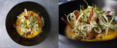 Tagliatelles de seiche au chorizo, crème carotte-orange.