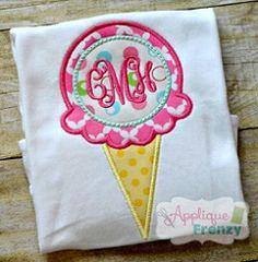 Ice Cream Monogram Circle Applique - 4 Sizes! | What's New | Machine Embroidery Designs | SWAKembroidery.com Applique Frenzy