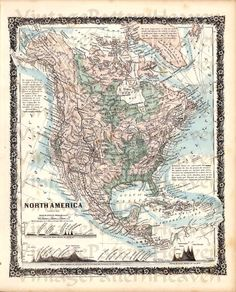1858 Antique Victorian Map USA UNITED 48 STATES America Ancestry Image World Geography Scrapbook Digital Download Craft Paper Pillow Tag M8 on Etsy, $2.00