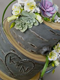 """Tree Stump"" wedding cake with gumpaste succulents in deep gray Navin Feature Santa Monica Friday: Kaysie Lackey"