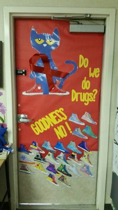 Our 1st grade Pete the Cat Red Ribbon week door.