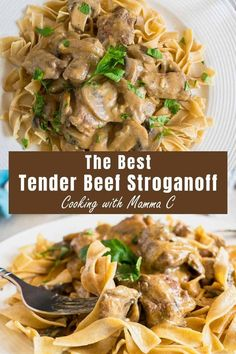 Looking for a Tender Beef Stroganoff recipe? This is it! And...it's got the best flavor from beef stock, wine and a delicious blend of seasonings. #beefstroganoff #bestbeefstroganoff