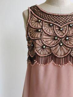 Vintage 1960s 1970s Chiffon Dress Designer Jack Bryan Beaded Evening Gown Pink #JackBryan