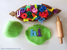 Learn with Play at Home: Invitation to Play and Learn with Playdough and Magnetic Letters. Toddler and Preschool Activity