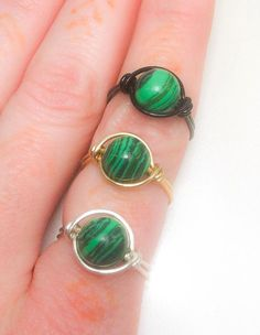 Malachite Wire Wrapped Ring  Made to Order  Silver  by JBellsGems