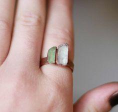 Raw Aquamarine Ring Green Tourmaline Ring by AmandaLeilaniDesigns.