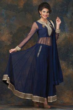 Blue Silk and Net Trouser Suit - DMV13877