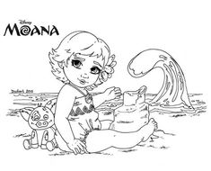 Baby Moana Coloring Page - We have dedicated this page to fans of the Disney film Moana. You can find Moana coloring pictures to color. Moana Waialiki is a princess who will liv. Easy Coloring Pages, Online Coloring Pages, Coloring Pages To Print, Printable Coloring Pages, Coloring Books, Disney Princess Coloring Pages, Disney Princess Colors, Disney Colors, Princess Moana