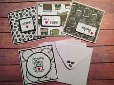 Mini cards, mini note cards, set of 4, coffee cards, gift tags, coffee ephemera, 3 x 3 cards, mini coffee cards by PinkyPromiseBargains on Etsy