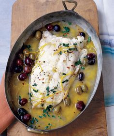Roasted Pacific Cod With Olives and Lemon  This one-pot dish is a cinch to make—just roast the fish in a pan with white wine, olives, and lemon zest.