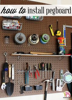 How to Hang Pegboard : How to Hang Pegboard - An organizational DIY project that anyone can do! Learn how to quickly and easily hang pegboard in a garage, storage room, utility room and more. Full step-by-step instructions. Pegboard Garage, How To Install Pegboard, Hang Pegboard, Pegboard Organization, Diy Garage Storage, Tool Storage, Storage Ideas, Organization Ideas, Storage Room