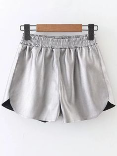 Faux Leather Winter Shorts - SILVER M
