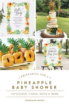 Sweet pineapple printables for an easy DIY baby shower. Perfect for summer, luau or tropical themes! Invitations, signs, games and more! Baby Girl Shower Themes, Baby Shower Signs, Baby Shower Diapers, Baby Boy Shower, Baby Shower Decorations, Baby Shower Printables, Baby Shower Invitations, Hawaiian Baby Showers, Wishes For Baby