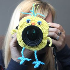 Camera lens buddy Crochet lens critter yellow bird by Swifferkins, $14.99