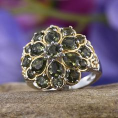 Bohemian Moldavite Ring in 14K Yellow Gold and Platinum Overlay Sterling Silver (Nickel Free)
