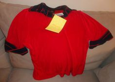Womens New Citiknits Red with blue short sleeve top size medium Find me at www.dandeepop.com