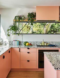 Home Interior, Interior Design, Peach Kitchen, Tropical Kitchen, Green Cabinets, Pink Kitchen Cabinets, Up House, Piece A Vivre, Cuisines Design
