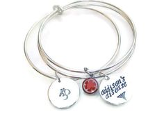 Make It Yours Sterling Silver Bangle Trio Personalized Medic Alert Bracelet Handcrafted by tsojewelry, $128.00