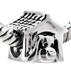 Sterling Silver Dog House Bead Charm Fits Pandora Charms Bracelet, (bundlemonster, pandora, charms, beads, glass beads, troll, trollbeads, heirloom charms, paw print charm, very cute charm love it)