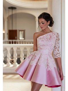 Pink One Shoulder Long Sleeve Short Homecoming Dress