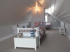 The twin beds are separated giving the feel of privacy